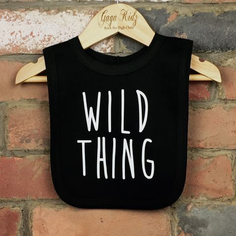 Wild,Thing,Baby,Bib,wild thing baby bib, wild thing bib, wild thing clothing, baby wild thing bib, silly baby clothes, cute baby bib, funny baby bib, cool baby clothing, funny baby clothes, unique baby gifts, baby shower gift, cool baby bib