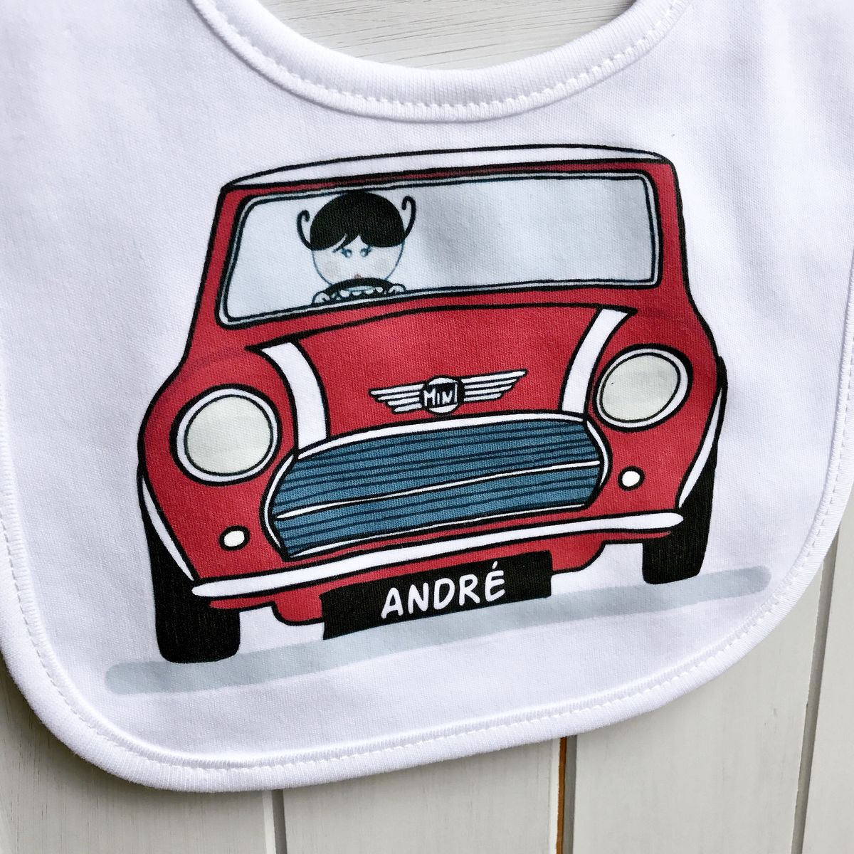 Personalised Mini Cooper Car Baby Bib (various colours) - product images  of