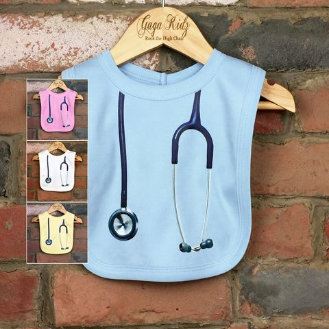 Stethoscope,Baby,Bib,(various,colours),stethoscope baby bib, baby doctor bib, baby nurse bib, medical baby gift, doctor baby gift, nurse baby gift, cute baby bib, funny baby bib, funny baby clothes, unique baby gifts, baby shower gift, cool baby bib, cool baby clothes, unisex baby bibs