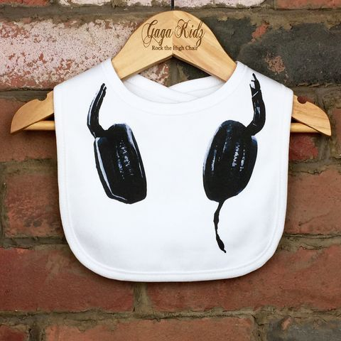 DJ,Headphones,Baby,Bib,dj headphones velcro baby bib, uk baby bib, cute baby bib, cotton baby bib, funny baby bib, cute baby clothes, funny baby clothes, unique baby gifts, baby shower, baby shower gift, cool baby bib, cool baby clothes, unisex baby bibs, dribble bibs