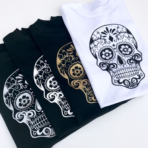 Sugar,Skull,Black/Gold/Silver/White,Silhouette,on,Black/White,TShirts,(various,sizes),sugar skull kids tee, sugar skull children's t-shirt, sugar skull tshirt, skull baby tshirt, candy skull tshirt, sugar skull silhouette, halloween baby tshirt, funny baby shirt, baby clothes, cool baby clothes, spooky baby tshirt, halloween kids outfit
