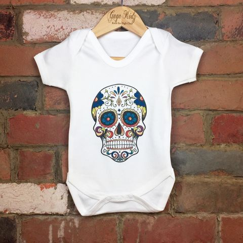 Sugar,Skull,Bodysuit,sugar skull baby bodysuit, candy skull baby onesie, day of the dead baby bodysuit, cotton baby grow, funny baby vest, cute baby clothes, funny baby clothes, unique baby gifts, baby shower, baby shower gift, cool baby bodysuits, cool baby clothes