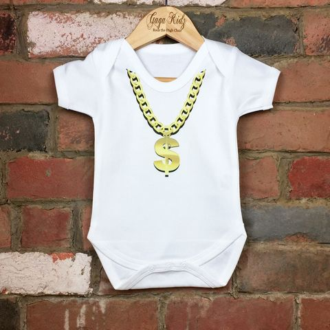 Gold,Chain,Necklace,Bodysuit,gold chain baby bodysuit, uk baby bodysuit, cute baby bodysuit, cotton baby grow, funny baby vest, cute baby clothes, funny baby clothes, unique baby gifts, baby shower, baby shower gift, cool baby bodysuits, cool baby clothes, gaga kidz