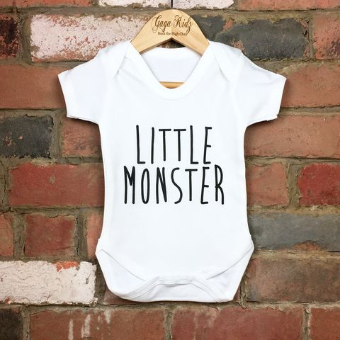 Little,Monster,Baby/Toddler,Bodysuit,(various,sizes),little monster baby bodysuit, little monster onesie, uk baby bodysuit, cute baby bodysuit, cotton baby grow, funny baby vest, cute baby clothes, funny baby clothes, unique baby gifts, baby shower, baby shower gift, cool baby bodysuits, cool baby clothes