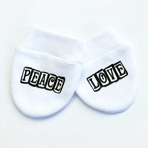Peace,&,Love,Baby,Scratch,Mittens,baby mittens, scratch mittens, baby mitts, scratch mitts, baby gloves, newborn mittens, no scratch, peace and love, tattoo baby gift, Baby Accessories, baby shower gift