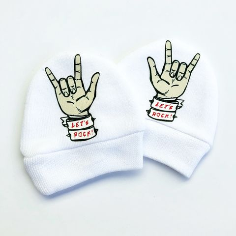 Let's,Rock,Baby,Scratch,Mittens,baby mittens, scratch mittens, baby mitts, scratch mitts, baby gloves, newborn mittens, no scratch, let's rock, rock and roll, rock baby, heavy metal baby, rock baby gift, Baby Accessories, baby shower gift