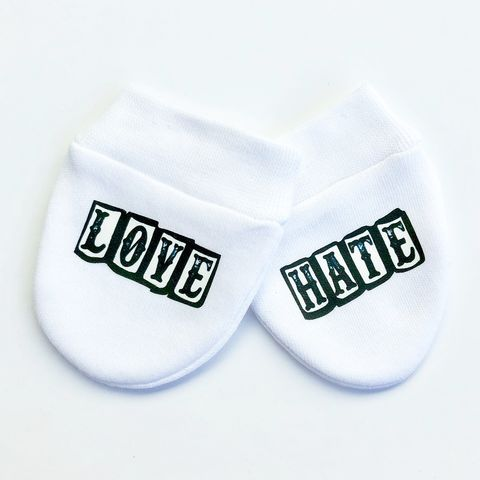 Love,&,Hate,Baby,Scratch,Mittens,baby mittens, scratch mittens, baby mitts, scratch mitts, baby gloves, newborn mittens, no scratch, love and hate, tattoo baby gift, Baby Accessories, baby shower gift