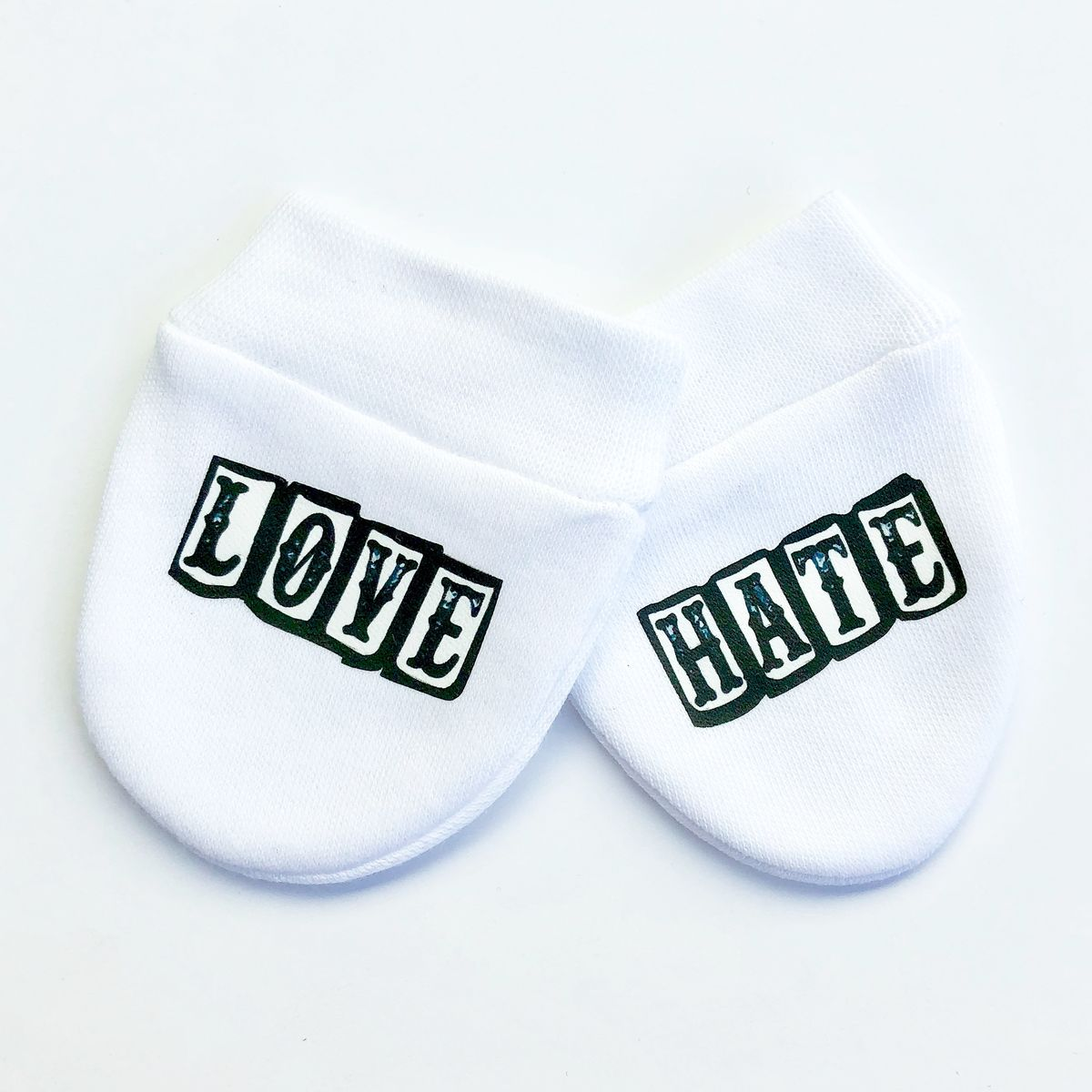 Love Hate Mittens Baby Infant Newborn Gloves Cute Punk Alternative Different Fun
