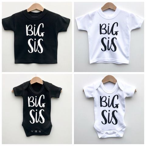 Big,Sis,Sibling,T-Shirt,or,Bodysuit,(various,sizes),sibling set, big sister, big sis, sibling gift, big sister gift, new baby gift, older sister gift, kids clothes, sister t-shirt, sister bodysuit, sister onesie