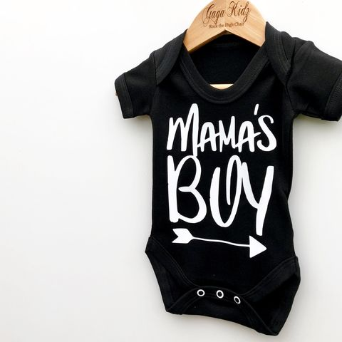 Mama's,Boy,Black,&,White,Bodysuits,(various,sizes),mama's boy, mummy boy, mommy and me, baby onesie, baby bodysuit, baby gift, baby clothes, baby gifts, toddler onesie, toddler bodysuit