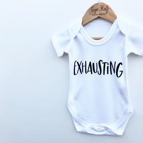 Exhausting,Black,or,White,Bodysuit,exhausting, exhausted, mum and baby set, tired mum, tired baby, new mum gift, new baby gift, funny baby gift, funny baby clothes, baby onesie, baby bodysuit, baby clothes, baby gifts, toddler onesie, toddler bodysuit