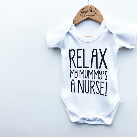 Relax,Mummy/Daddy,Is,A,Nurse/Doctor,Bodysuit,(various,sizes),relax my daddy is a doctor baby bodysuit, relax my mummy is a doctor baby onesie, baby doctor gift, cotton baby grow, funny baby vest, cute baby clothes, funny baby clothes, unique baby gifts, baby shower, baby shower gift, cool baby bodysuits