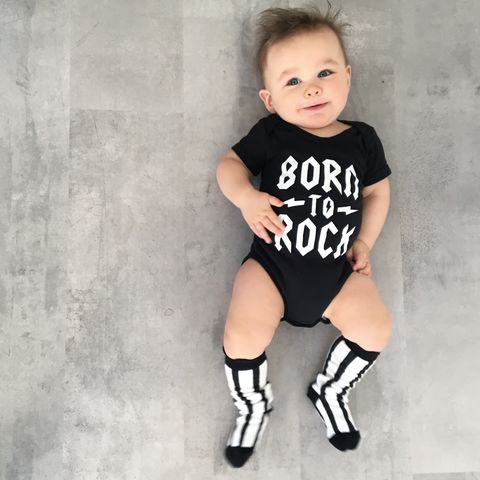 Born,To,Rock,Black,&,White,Baby/Toddler,Bodysuits,(various,sizes),born to rock baby bodysuit, rock baby onesie, heavy metal baby, heavy metal babygrow, acdc romper, alternative baby clothes, cotton baby grow, funny baby grow, cool baby clothes, funny baby clothes, alternative baby gift, unisex baby clothes, baby music