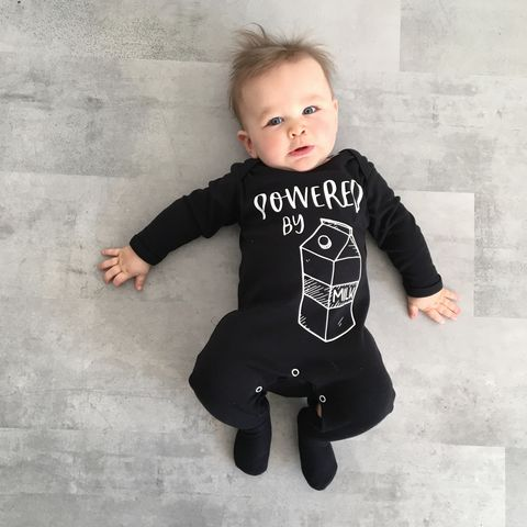 Powered,by,Milk,Black,or,White,Baby,Romper,funny baby shower gift, milk baby, baby bottle, powered by milk, milk monster, but first milk, breast milk, funny romper, funny onesie, baby clothes, baby one piece, baby onesie, toddler onesie, baby gift, newborn gift