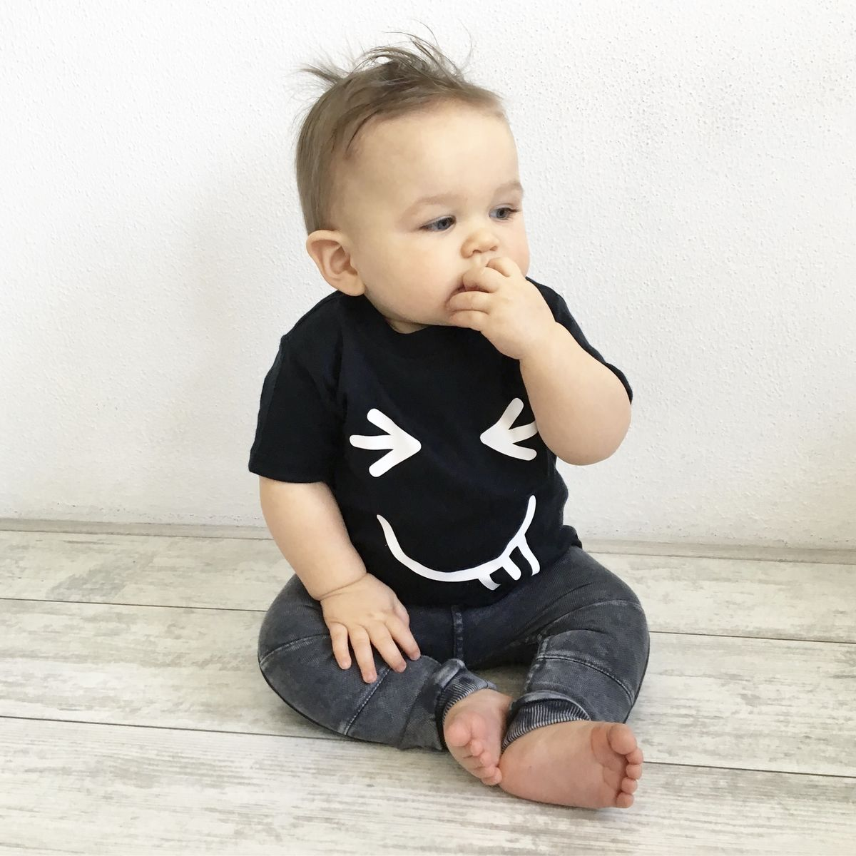 Cheeky Face Black & White Kids T-Shirt (various sizes) - product images  of