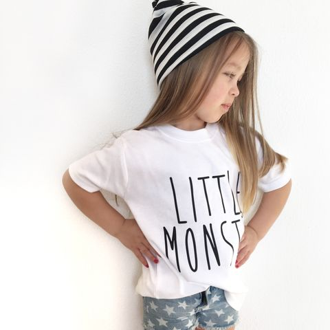 Little,Monster,Black,&,White,Kids,T-Shirts,(various,sizes),little monster baby tee, little monster baby t-shirt, uk baby t-shirts, cute baby tees, cotton baby t-shirt, funny baby tee, cute baby clothes, funny baby clothes, unique baby gifts, baby shower, baby shower gift, cool baby tees, cool baby clothes
