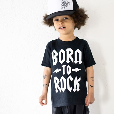 Born,To,Rock,Black,&,White,Kids,TShirts,(various,sizes),rock baby tee, born to rock baby t-shirt, rock and roll kids tees, acdc kids top, baby t-shirt, cotton baby t-shirt, funny baby tee, cute baby clothes, funny baby clothes, unique baby gifts, alternative baby gift, baby music