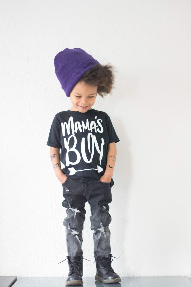 Mama's Boy Black & White Kids T-Shirts (various sizes) - product images  of