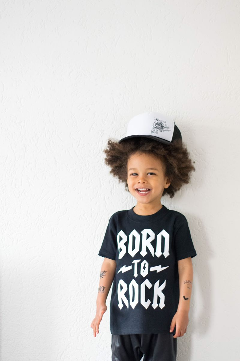 Born To Rock Black & White Kids TShirts (various sizes) - product images  of