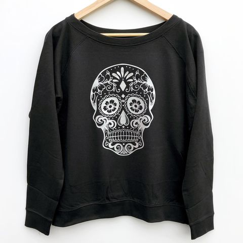 'Sugar,Skull',Women's,Sweatshirt,skull sweater, sugar skull, candy skull, day of the dead, mexican skull, womens sweater, womens sweatshirt, womens gym top, ladies pullover, ladies jumper, off the shoulder sweater, off the shoulder jumper, ladies sweater, funny womens top, gym clothes