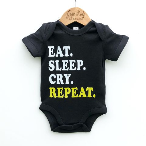 Eat,Sleep,Cry,Repeat,Black,&,White,Bodysuits,(various,sizes),eat sleep cry repeat, new parents gift, new baby gift, rave baby, funny baby gift, funny baby clothes, baby onesie, baby bodysuit, baby clothes, baby gifts, toddler onesie, toddler bodysuit