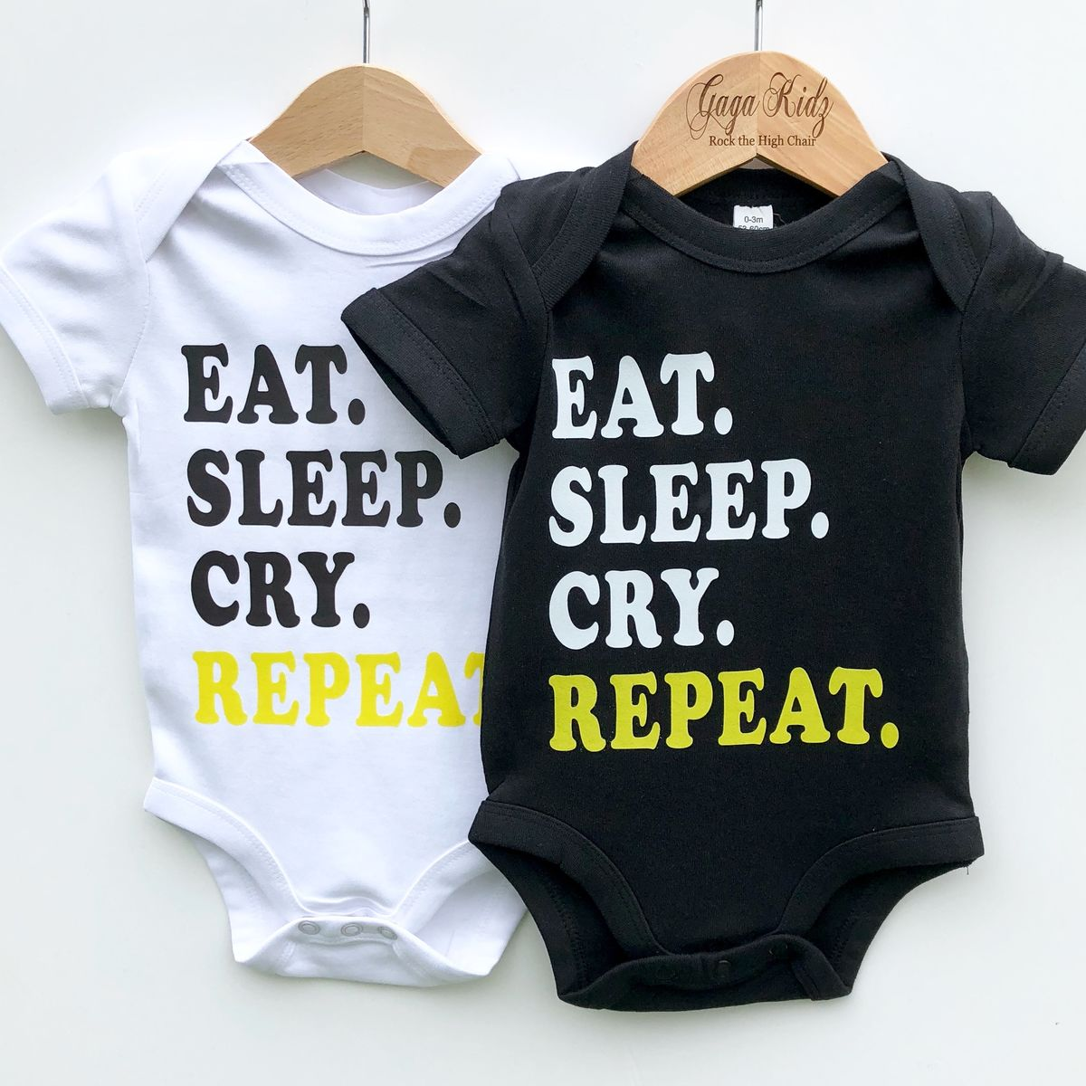 Eat Sleep Cry Repeat Black & White Bodysuits (various sizes)  - product images  of