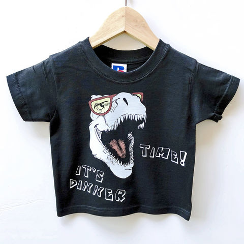 Dinosaur,Dinner,Black,or,White,T-Shirt,dinosaur tshirt, dino shirt, t-rex shirt, dinner time, cool shirt, clothes for kids, kids tshirt, baby tee, baby t-shirts, cool baby tees, cotton baby t-shirt, funny baby tee, cute baby clothes, funny baby clothes