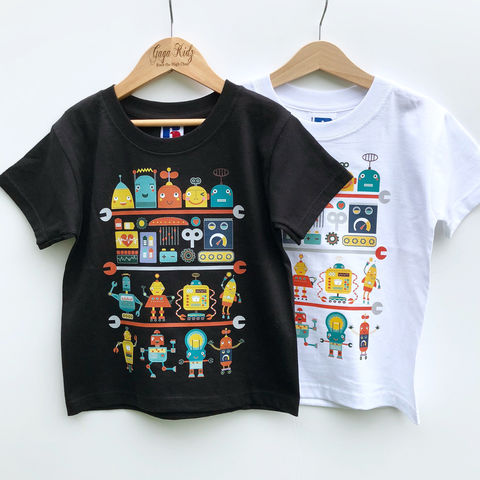 Robot,Black,&,White,Kids,T-Shirt,(various,sizes),robots tshirt, cool kids shirt, cute robot, science shirt, geek shirt, robotics shirt, clothes for kids, kids tshirt, baby tee, baby t-shirts, cool baby tees, cotton baby t-shirt, funny baby tee, cute baby clothes, clothes for babies