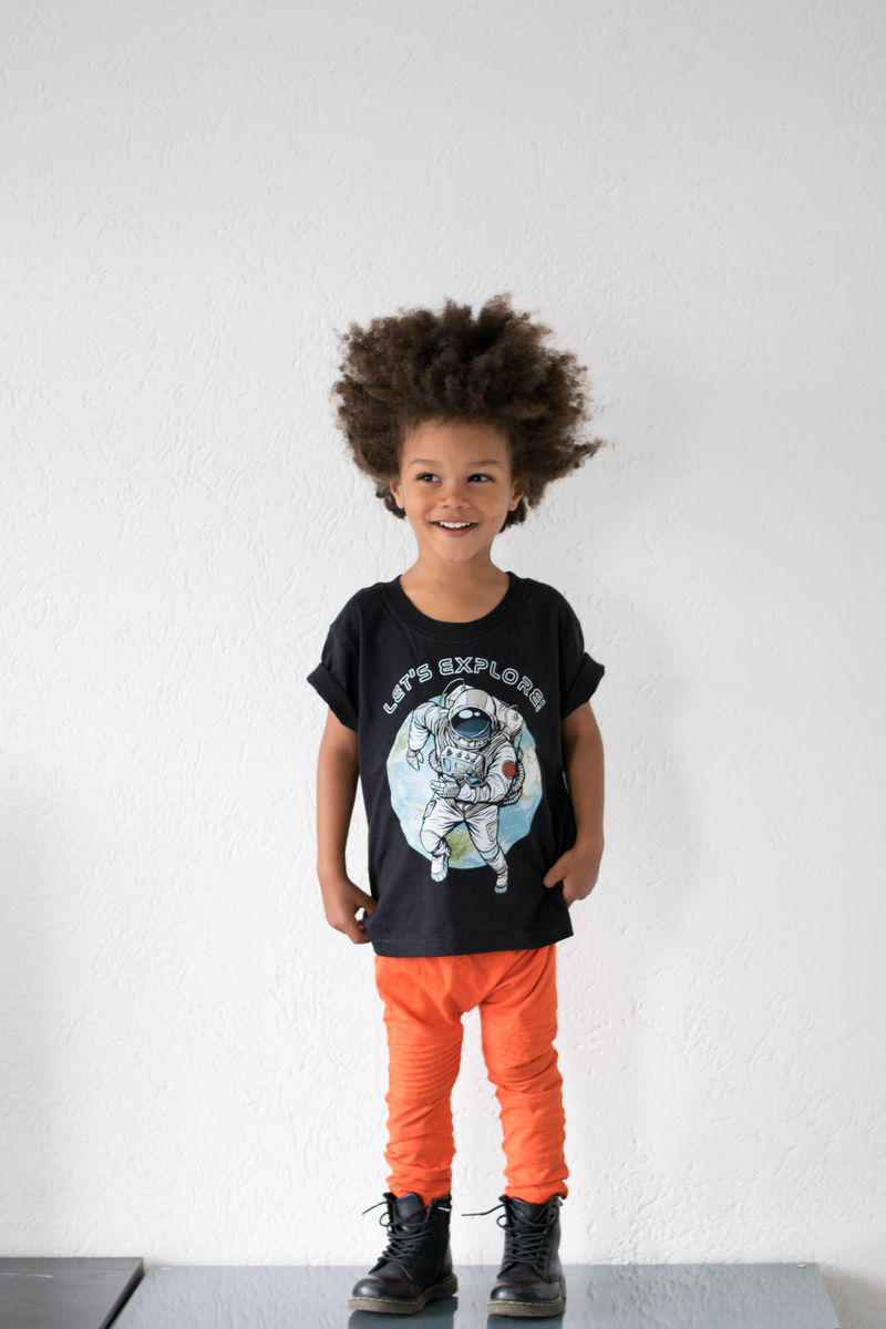 Spaceman Black & White Kids T-Shirt (various sizes) - product images  of