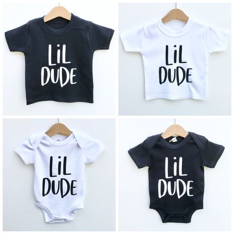 Lil,Dude,Black,&,White,T-Shirt,or,Bodysuit,(various,sizes),sibling set, lil dude, big dude, little dude, sibling gift, little brother gift, big brother, new baby gift, younger brother gift, kids clothes, brother t-shirt, older brother gift, clothes for babies