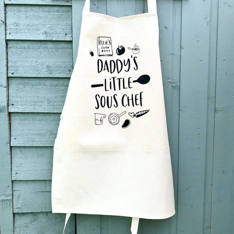 Daddy's,Little,Sous,Chef,Apron,kids apron, junior apron, fathers day gift, sous chef, personalised childs apron, child's apron, toddler apron, craft apron, chef apron, junior master chef, little chef, baking apron