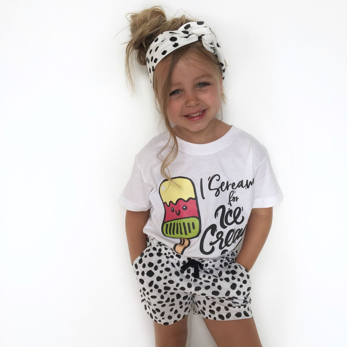 Scream for Ice Cream Black & White Kids T-Shirt (various sizes) - product images  of