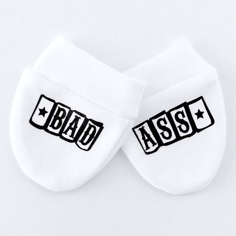 Bad,Ass,Baby,Scratch,Mittens,baby mittens, scratch mittens, baby mitts, scratch mitts, baby gloves, newborn mittens, no scratch, bad ass, tattoo baby gift, Baby Accessories, baby shower gift