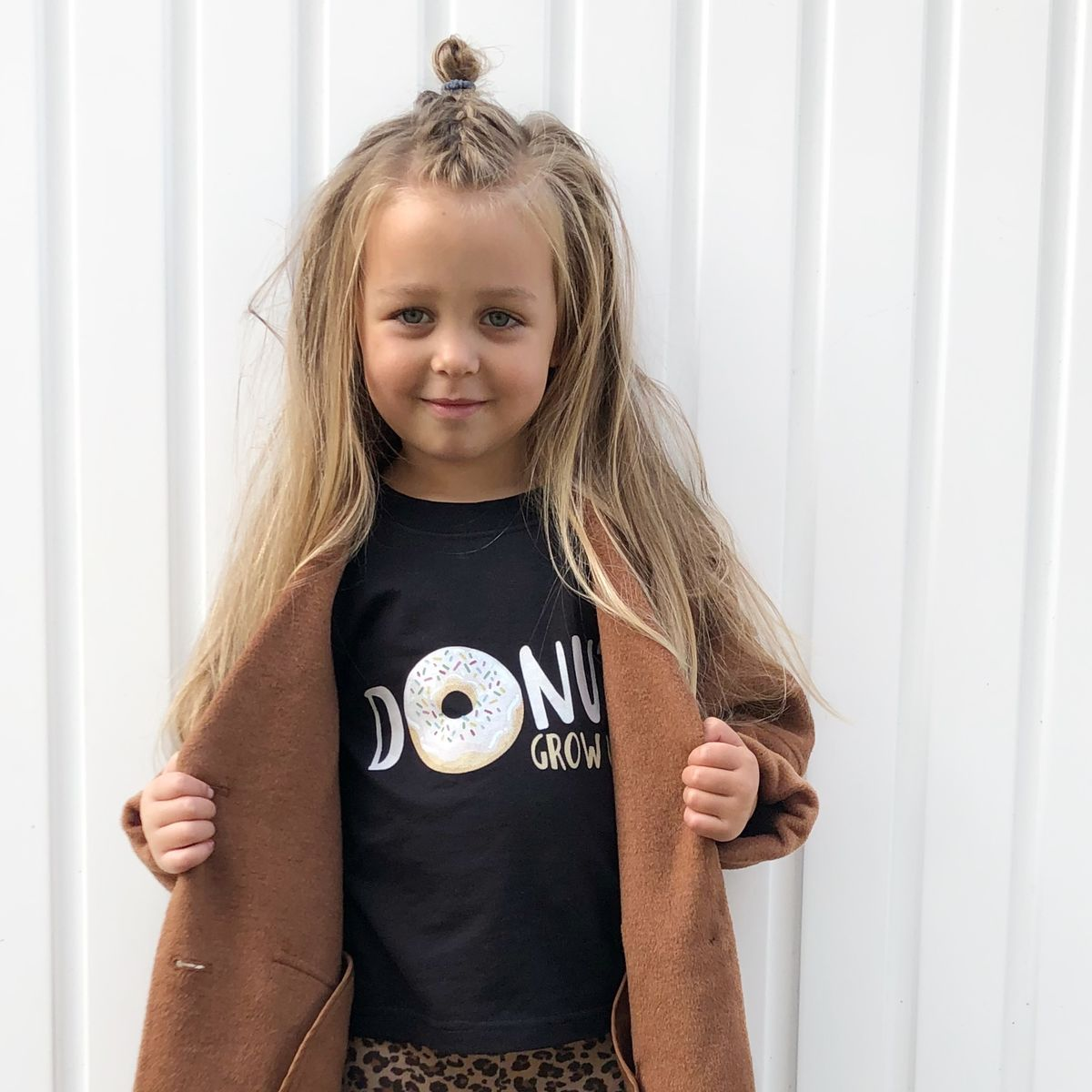 'White' Donut Grow Up Black Kids T-Shirt (various sizes) - product images  of
