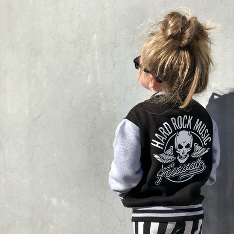 Kids,Rock,n,Roll,Varsity,Jacket,kids rocker jacket, rock n roll jacket, rock and roll jacket, rock kid, rocker kid, kids rock clothes, heavy metal jacket, rock music gift for kid, music fan gift, kids varsity jacket, baseball style jacket, college jacket, little rocker, rock star