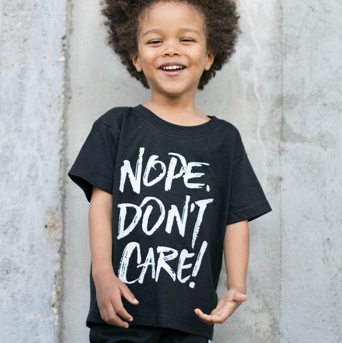 Nope,Don't,Care,Black,&,White,Kids,T-Shirt,(various,sizes),sarcasm shirt, sarcastic shirt, funny kids shirt, amusing shirt, nope don't care, i don't care shirt, don't care, clothes for kids, kids tshirt, baby tee, baby t-shirts, cool baby tees, cotton baby t-shirt, funny baby tee, cute shirt