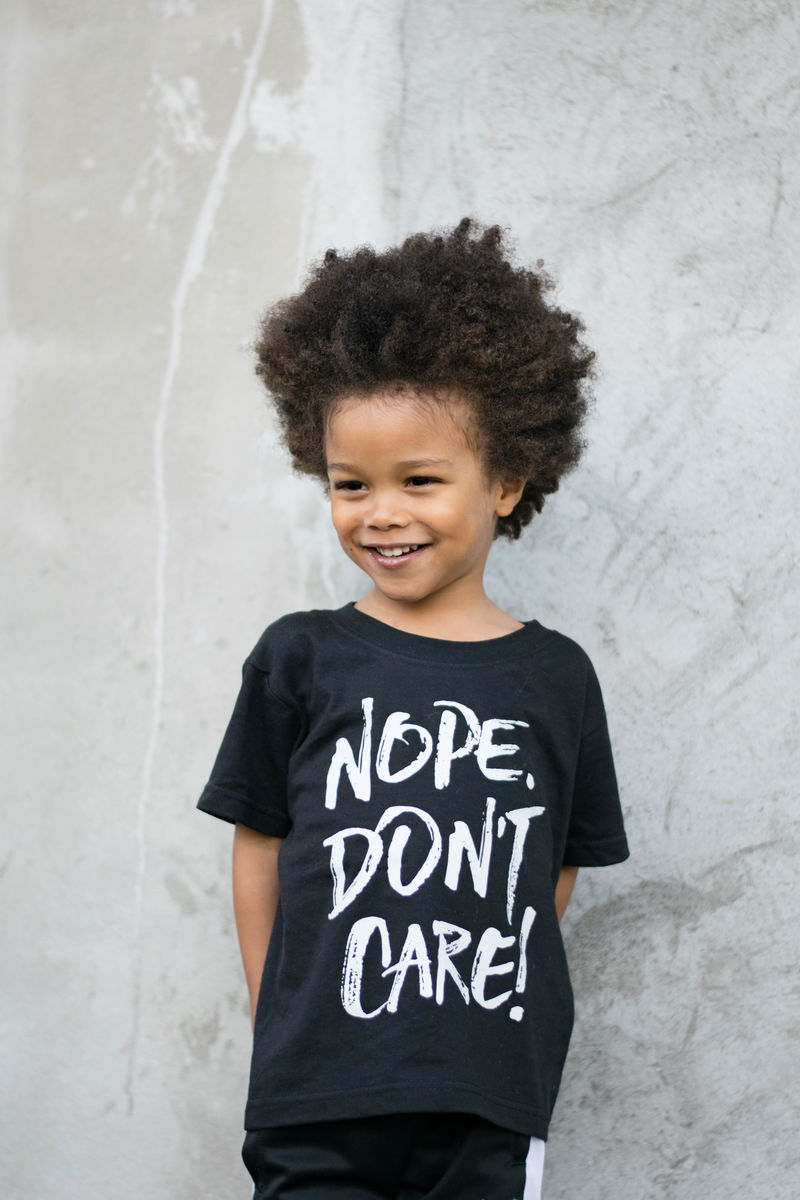 Nope Don't Care Black & White Kids T-Shirt (various sizes) - product images  of