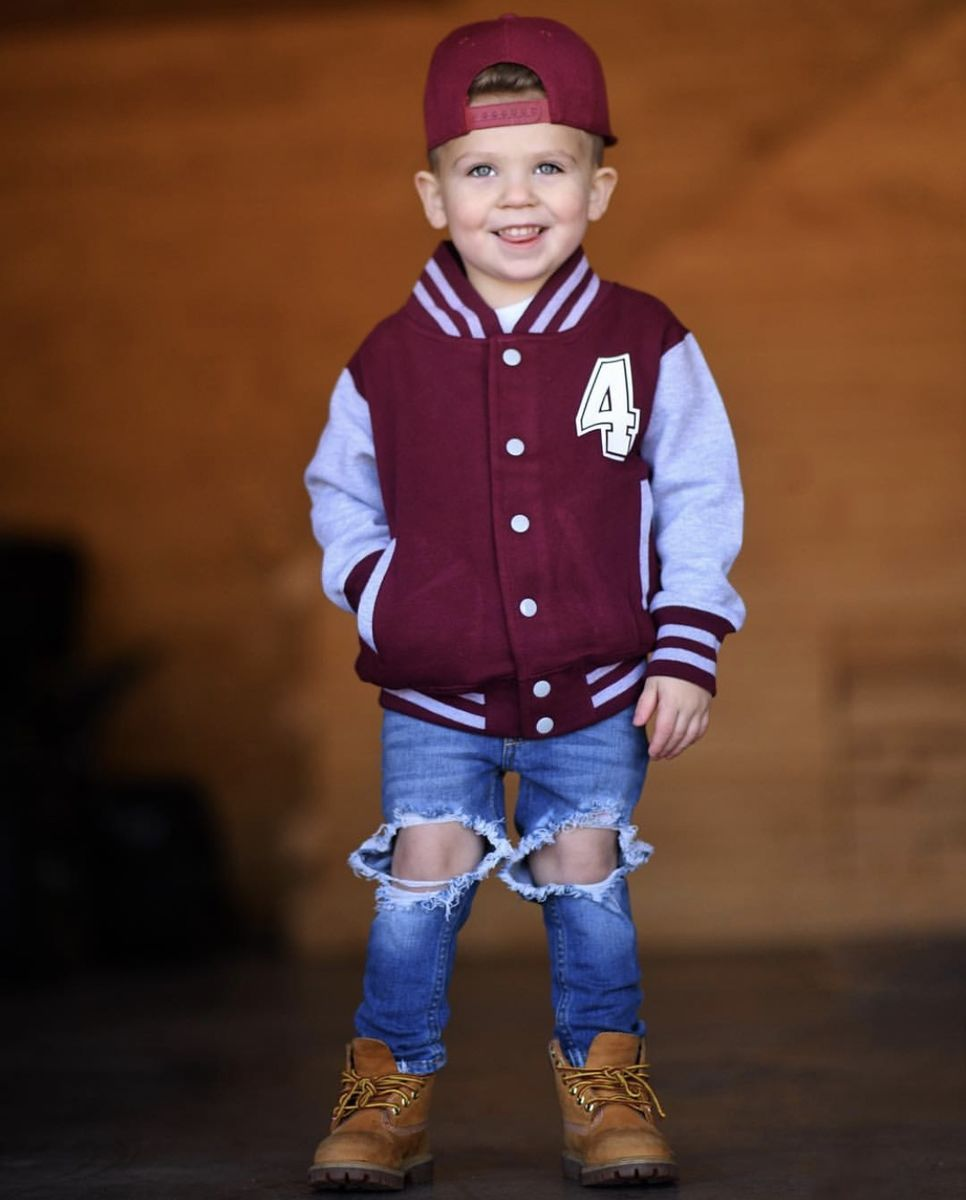 Baseball Style 'Name' Kids Varsity Jacket - product images  of