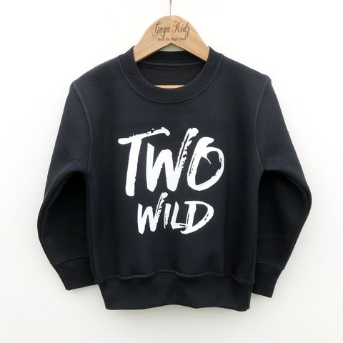 'Two,Wild',Kids,Sweatshirt,(various,sizes),toddler sweater, birthday jumper, two wild, wild child, kids sweatshirt, kids sweater, crew neck sweater, second birthday top, 2nd birthday outfit, baby sweater, baby sweatshirt, toddler crew neck, 2nd birthday gift, too wild,