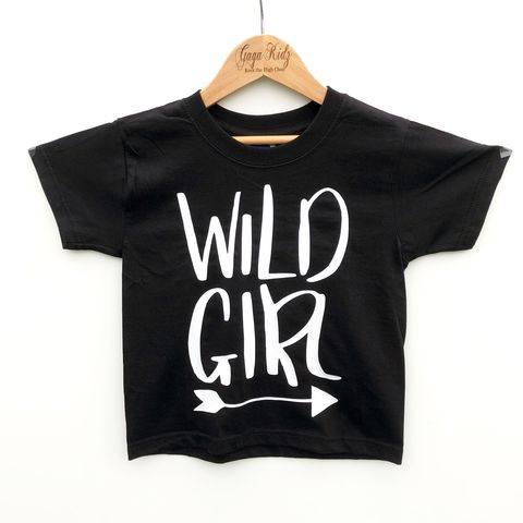 Wild,Girl,Black,&,White,Kids,T-Shirt,(various,sizes),wild girl, wild one, wild child, wild tshirt, wild kids, wild baby, trendy baby tshirt, trendy kids tshirt, hipster kids shirt, hipster baby shirt, cool kids clothes, kids tshirt, adventure girl, outdoor t-shirt, girls tshirt