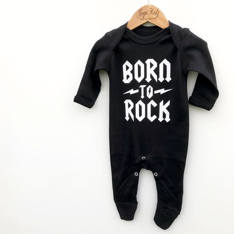 Born,to,Rock,Black/White,Baby,Rompers,(various,sizes),funny baby gift, born to rocker, baby rocker, alternative baby gift, heavy metal baby gift, funny romper, funny onesie, baby clothes, baby one piece, baby onesie, toddler onesie, newborn gift, rock baby clothes, rock and roll baby