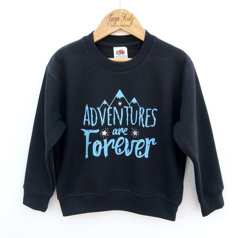 Adventures,are,Forever,Sweatshirt,adventures are forever, camping sweatshirt, hiking sweatshirt, little adventurer, good vibes, life is an adventure, adventure kids, outdoor kid, outdoor baby, toddler sweater, kids sweatshirt, kids sweater, baby sweater, baby sweatshirt