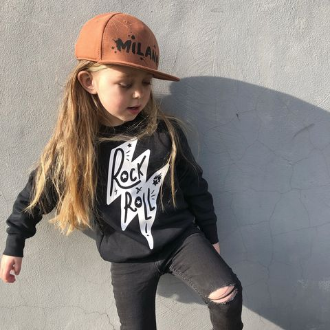 'Rock,&,Roll,Lightning,Bolt',Kids,Sweatshirt,(various,sizes),lightning bolt, thunderbolt, thunderstruck, kids music gift, rock n roll, rock and roll baby, rock baby gifts, kid rock, little rocker, rock festival clothing, festival wear, rock and roll clothes, kids sweatshirt, punk rock, heavy metal