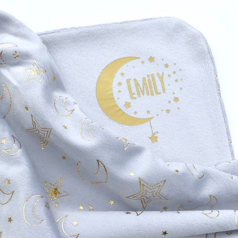'Baby,Name',Moon,&,Stars,Blanket,baby blankets, soft baby blanket, minky blanket, baby shawl, custom blanket, hospital blanket, pram blanket, baby name blanket, moon & stars, grey blanket, new baby gift