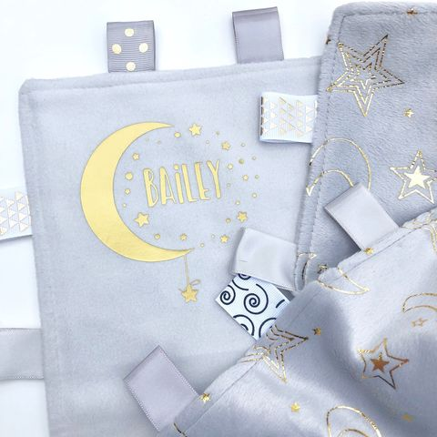 Custom,'Baby,Name',Taggie,Moon,&,Stars,Blanket,taggie, tag blanket, custom baby blankets, soft baby blanket, personalised blanket, hospital blanket, pram blanket, baby name blanket, moon & stars, grey blanket, new baby gift, security blanket, comfort blanket, baby comforter