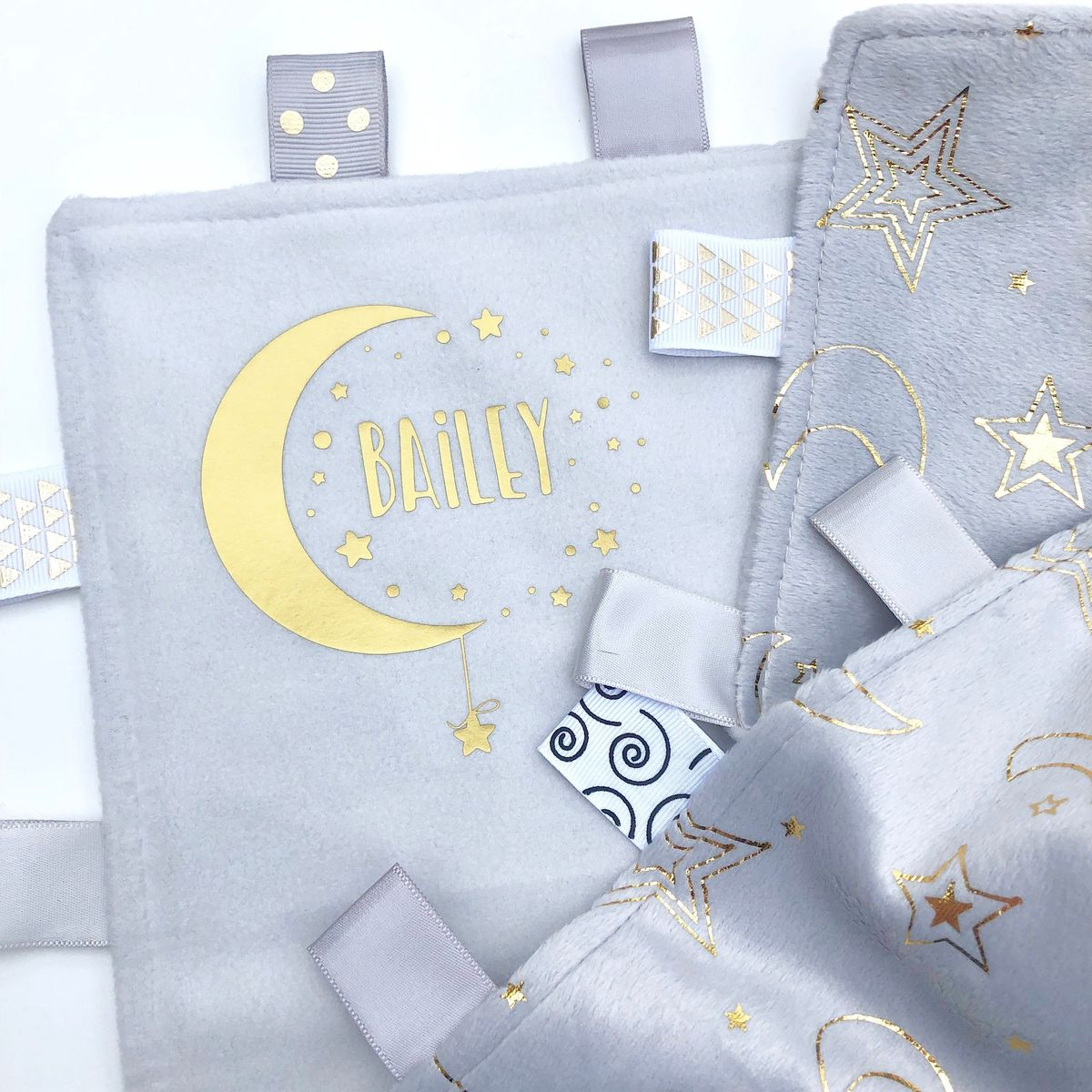 Custom 'Baby Name' Taggie Moon & Stars Blanket - product images  of