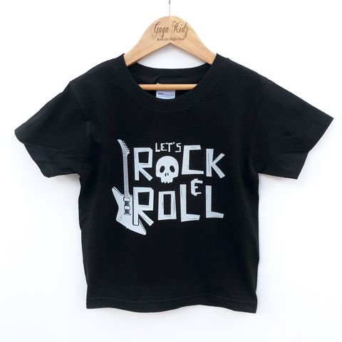 Let's,Rock,&,Roll,Black,or,White,T-Shirt,kids tshirt, baby tshirt, let's rock & roll, rock tshirt, vintage tshirt, music tshirt, retro tshirt, kids music clothes, alternative baby gifts, gothic tshirt, punk t-shirt, heavy metal kid, new baby shower gift