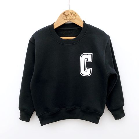 Custom,Letter,Sweatshirt,pocket print, initial letter, custom initial, kids initial, personalised sweater, custom sweater, customer sweatshirt, kids name, trendy kids clothes, kids pullover sweater, kids gifts