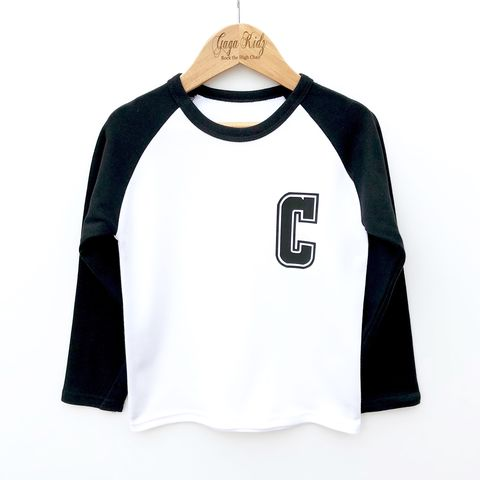 Custom,'Initials',Kids,Baseball,T-Shirt,(various,sizes),kids tshirt, baby tshirt, long sleeve t-shirt, baseball t-shirt, kids name initials, custom t-shirt, custom baseball, custom sports tee, custom raglan, toddler-t-shirt, monogram t-shirt, kids monogram clothes