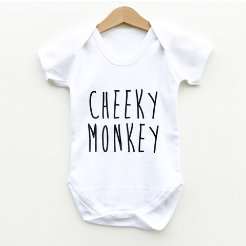 Cheeky,Monkey,Bodysuit,cheeky monkey baby bodysuit, cheeky monkey baby onesie, cute baby bodysuit, cotton baby grow, funny baby vest, cute baby clothes, funny baby clothes, unique baby gifts, baby shower, baby shower gift, cool baby bodysuits, cool baby clothes